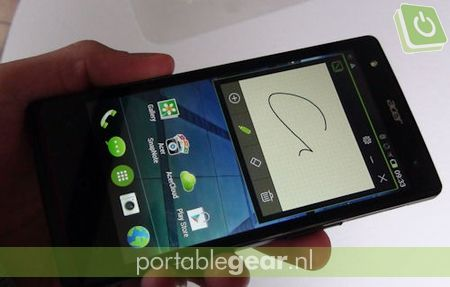 Acer Liquid E3: AcerFloat-interface met notitieblok