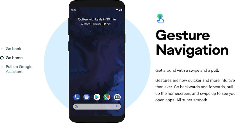Android 10 - Gesture navigation