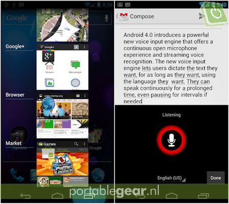 Android 4.0: Recent Apps & onbegrensde voice-input