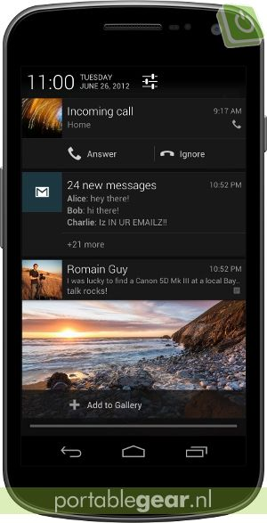 Android 4.1 Jelly Bean: notificaties