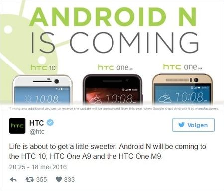 HTC tweet over Android Nougat