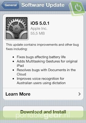 iOS 5.0.1-update voor iOS 5