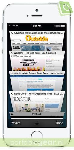 iOS 7: Safari-browser met Tab View