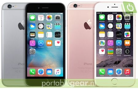 iPhone 6 (links) vs. iPhone 6S roze (rechts)