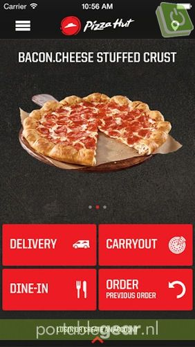 Pizza Hut-app op iPhone