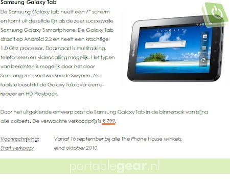 Samsung Galaxy Tab persbericht screenshot