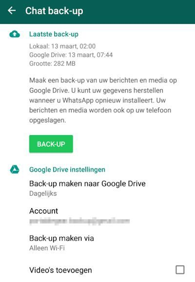 WhatsApp backup instellingen